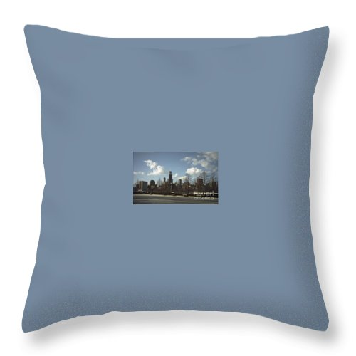 Chicago Skyline Throw Pillow featuring the photograph Chicago Skyline Postcard by Minding My Visions by Adri and Ray