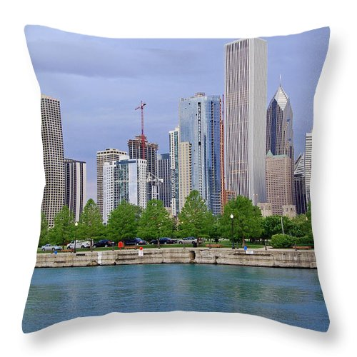Chicago Throw Pillow featuring the photograph Chicago Skyline by Suzanne Gaff
