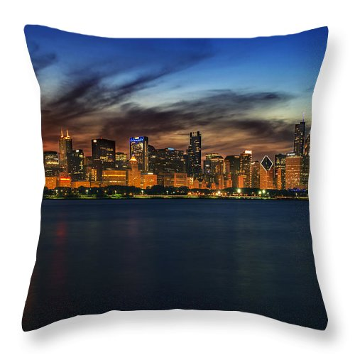 Chicago Skyline Throw Pillow featuring the photograph Chicago Sunset by Kevin Whitworth