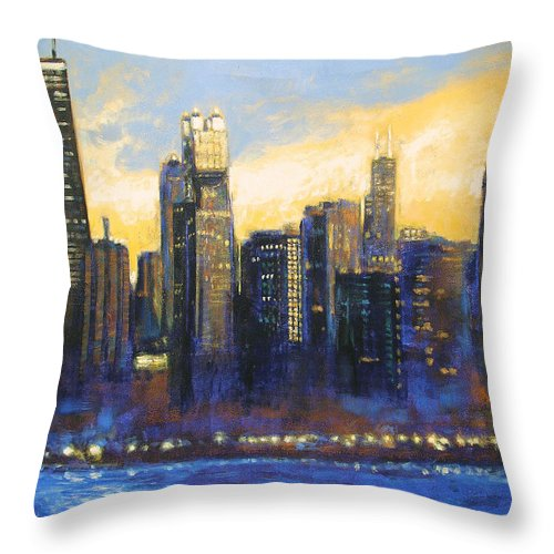 Chicago Skyline Throw Pillow featuring the painting Chicago Sunset Looking South by Joseph Catanzaro
