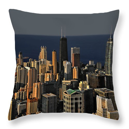 Aerial Throw Pillow featuring the photograph Chicago - That Famous Skyline by Christine Till