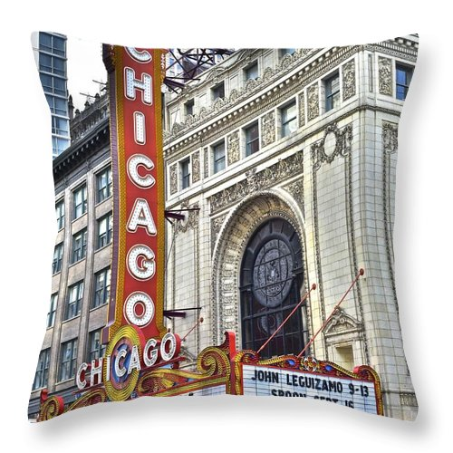 Chicago Throw Pillow featuring the photograph Chicago Theater by Frozen in Time Fine Art Photography