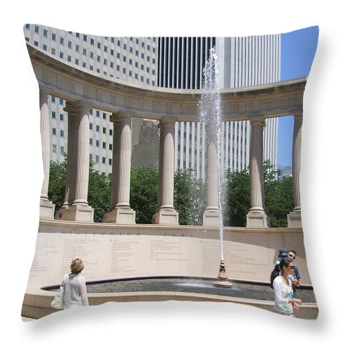 Chicago Throw Pillow featuring the photograph Chicago Tourism by Minding My Visions by Adri and Ray