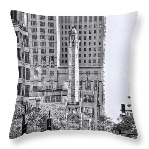 Water Tower Throw Pillow featuring the photograph Chicago Water Tower Beacon Black And White by Christopher Arndt