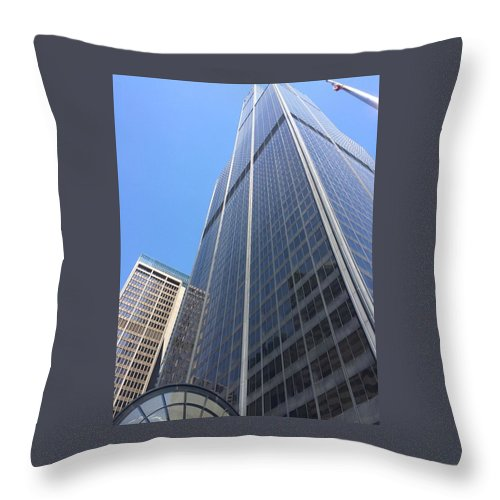 Chicago Throw Pillow featuring the photograph Chicago Willis Tower by Jay Watuobi