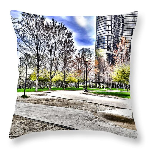 Chicago Throw Pillow featuring the photograph Chicago's Jane Addams Memorial Park From The Series The Imprint Of Man In Nature by Verana Stark