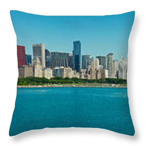 Kevin Eatinger Throw Pillow featuring the photograph Chicago's Lakefront Panorama by Kevin Eatinger