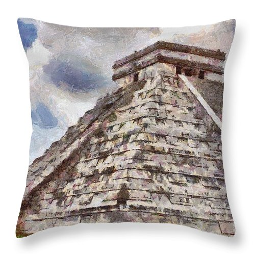 Yucatan Throw Pillow featuring the painting Chichen Itza by Jeffrey Kolker