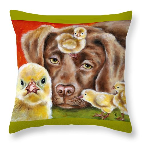 Funny Throw Pillow featuring the painting Chick sitting afternoon by Hiroko Sakai