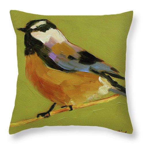 Birds Throw Pillow featuring the painting Chickadee Iv by Sue Darius