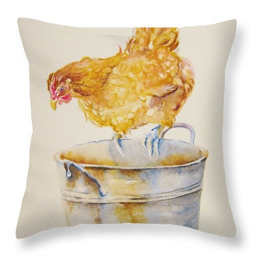 Hen Throw Pillow featuring the painting Chicken Feed by Debra Hall