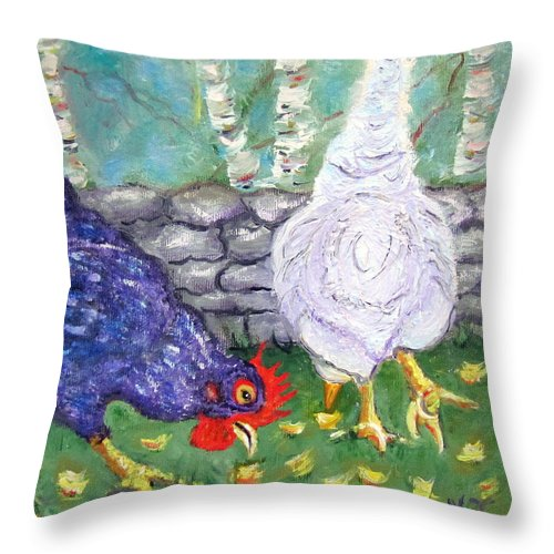 Chicken Throw Pillow featuring the photograph Chicken Neighbors by Natalie Rotman Cote