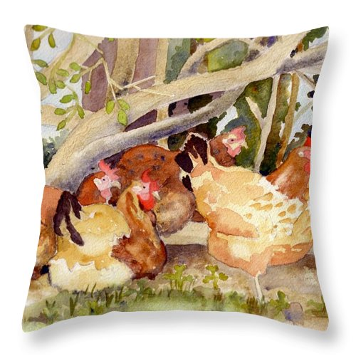 Hen Throw Pillow featuring the painting Chickens In The Hedge II by Christine Burn