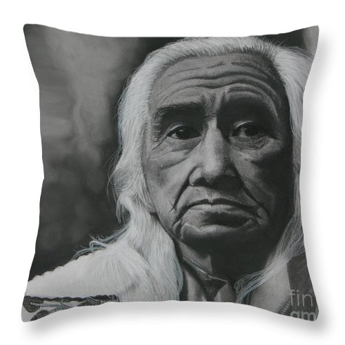 Chief Dan George Throw Pillow featuring the drawing Chief Dan George by Raine Cook