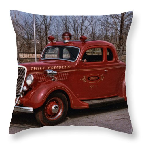 Fire Chief Throw Pillow featuring the photograph Chief Engineer by Tommy Anderson