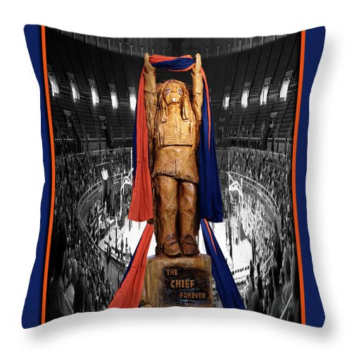 Il Throw Pillow featuring the photograph Chief Illiniwek University Of Illinois 04 by Thomas Woolworth
