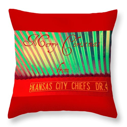 Christmas Throw Pillow featuring the photograph Chiefs Christmas by Chris Berry