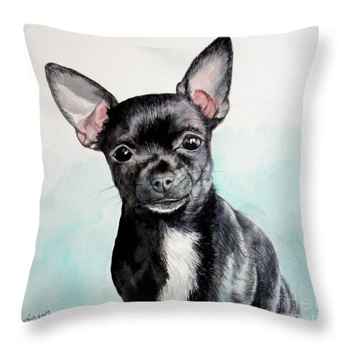 Dog Throw Pillow featuring the painting Chihuahua Black by Christopher Shellhammer