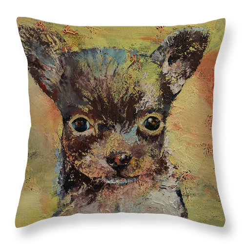 Portrait Throw Pillow featuring the painting Chihuahua by Michael Creese