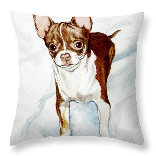 Dog Throw Pillow featuring the painting Chihuahua White Chocolate Color. by Christopher Shellhammer