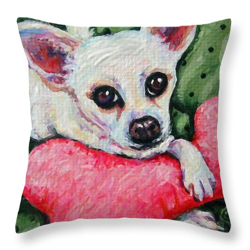 Rebecca Korpita Throw Pillow featuring the painting Chihuahua Who Came To Visit by Rebecca Korpita
