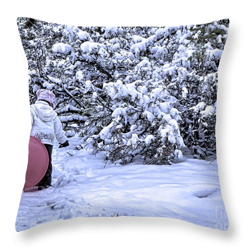 Child At Play Throw Pillow featuring the photograph Child At Play by Jason Abando