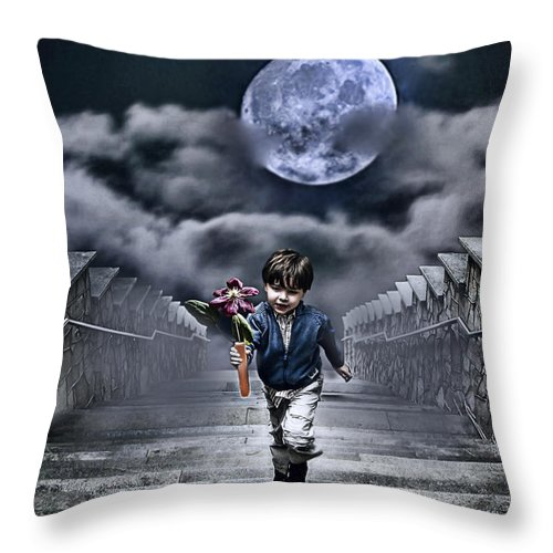 Boy Throw Pillow featuring the photograph Child Of The Moon by Joachim G Pinkawa