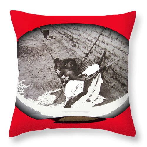 Child Tohono O'odham Hammock #2 Unknown Location And Date - 2013. Throw Pillow featuring the photograph Child Tohono O'odham Hammock #2 Unknown Location And Date - 2013. by David Lee Guss