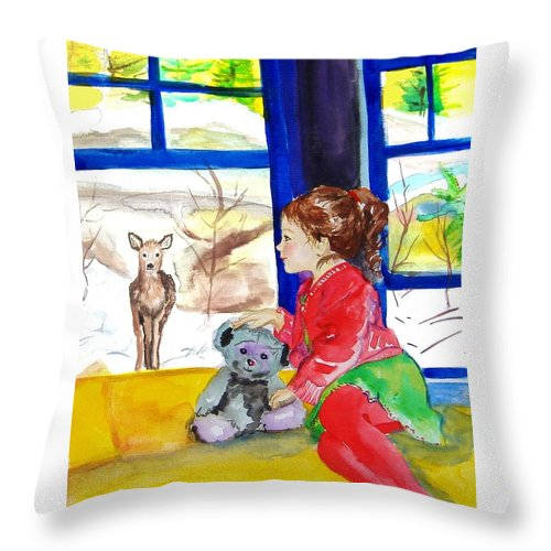 Christmas Throw Pillow featuring the painting Childhood by Laura Rispoli
