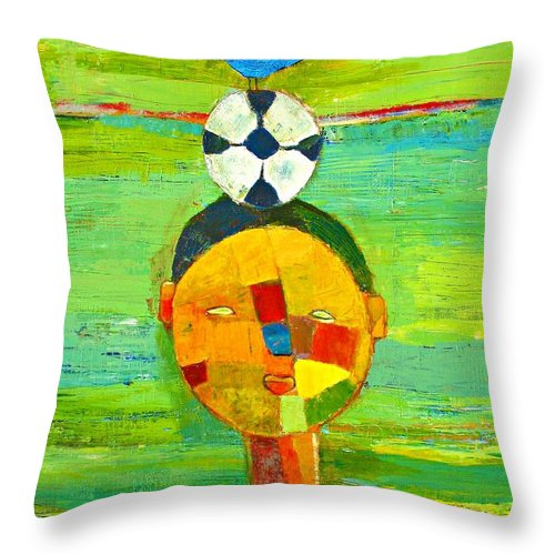 Childhood Throw Pillow featuring the painting Childhood Memories by Habib Ayat