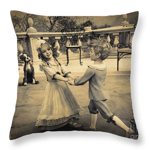 3d Throw Pillow featuring the digital art Childhood Memories by Jutta Maria Pusl