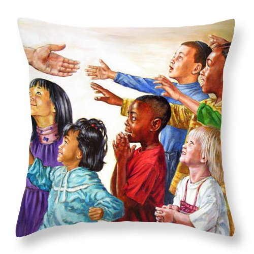 Jesus Throw Pillow featuring the painting Children Coming To Jesus by John Lautermilch