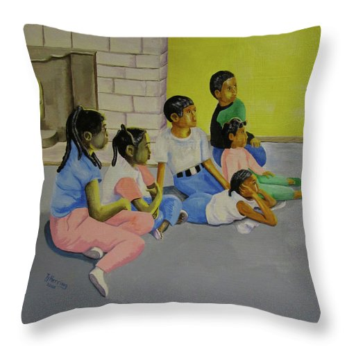 Children Throw Pillow featuring the painting Children's Attention Span by Thomas J Herring