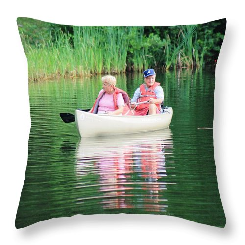 Reflections Throw Pillow featuring the photograph Chillin On The Lake by Robin Vargo