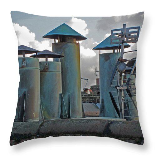 Chimney Pots Throw Pillow featuring the photograph Chimney Pots by Julia Hoefer-von Seelen