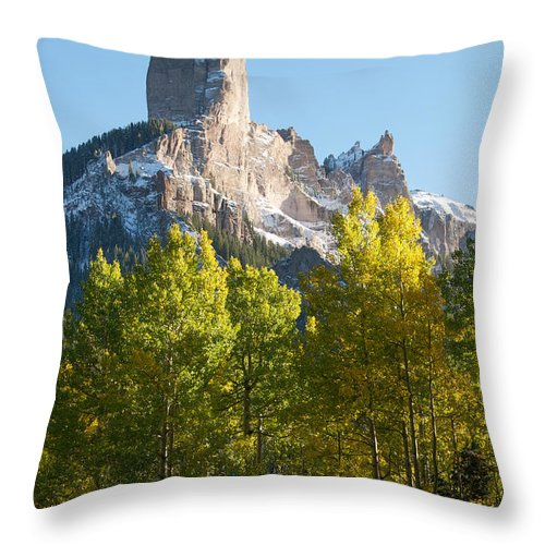 Chimney Throw Pillow featuring the photograph Chimney Rock - Colorado by Aaron Spong