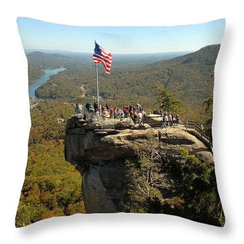 Pisgah National Forest Throw Pillow featuring the photograph Chimney Rock II by Jeff McJunkin