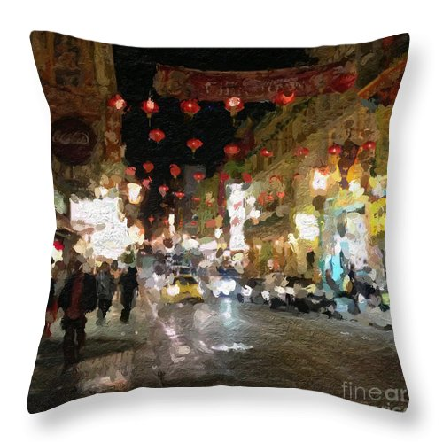 san Francisco Throw Pillow featuring the painting China Town At Night by Linda Woods