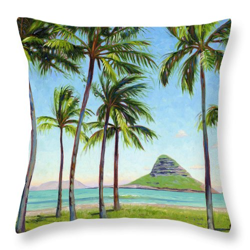 Chinamans Hat Throw Pillow featuring the painting Chinamans Hat - Oahu by Steve Simon
