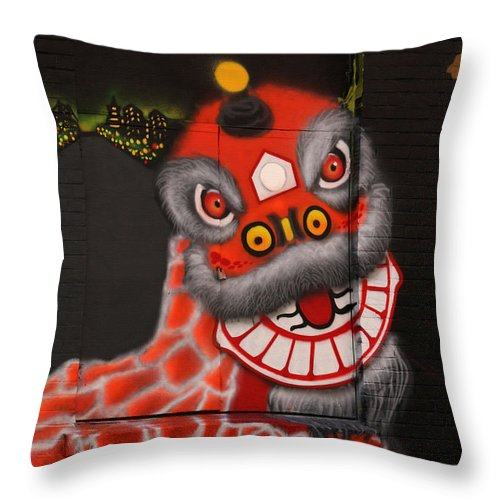 Chinatown Throw Pillow featuring the photograph Chinatown Dragon Mural by Art Block Collections
