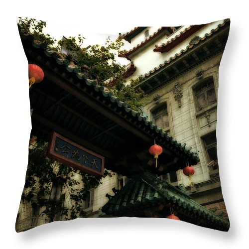 Chinatown Throw Pillow featuring the photograph Chinatown Entrance by Michelle Calkins