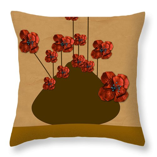 Digital Art Throw Pillow featuring the photograph Japanese Bonsai Flowers by Tina M Wenger