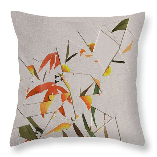 Abstract Throw Pillow featuring the painting Chinese Brush Painting Mash Up by Heidi E Nelson