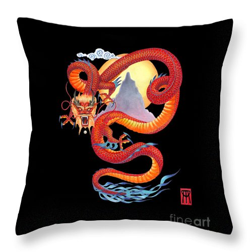 Dragon Throw Pillow featuring the painting Chinese Dragon on Black by Melissa A Benson