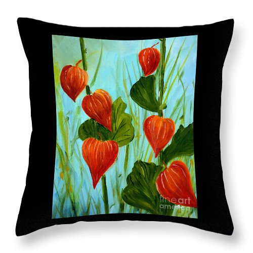 Nightshade Throw Pillow featuring the painting Chinese Lanterns by Claire Bull