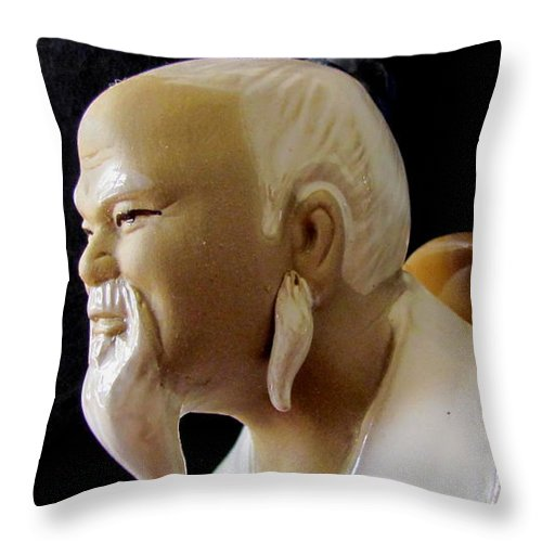 All Look Wonderful By The Side Of The Bonsai Tree. Throw Pillow featuring the photograph Chinese Man by Joyce Woodhouse