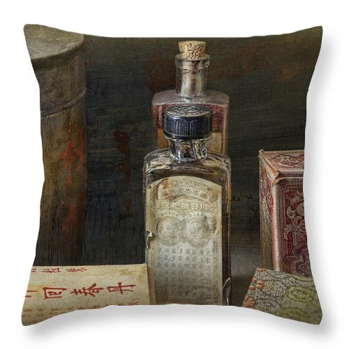 Chinese Throw Pillow featuring the photograph Chinese Medicinals by Ed Hall