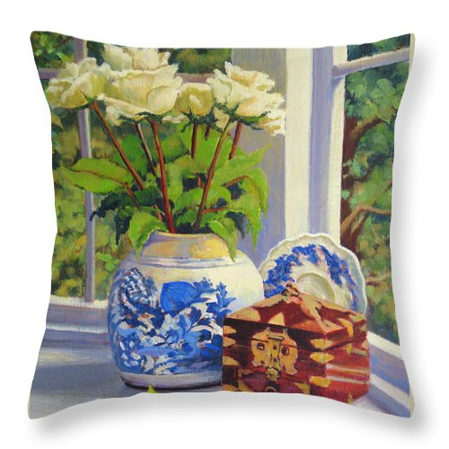 Impressionism Throw Pillow featuring the painting Chinese Melon Jar by Keith Burgess