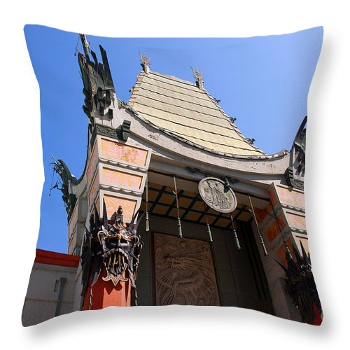 Hollywood Throw Pillow featuring the photograph Chinese Theatre In Hollywood by Brenda Kean