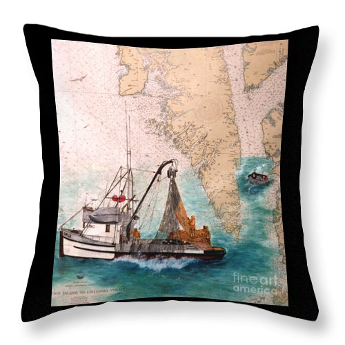 Chinook Throw Pillow featuring the painting Chinook Salmon Seine Fishing Boat Nautical Chart Art by Cathy Peek